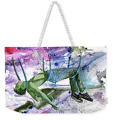 Weekender Tote Bag featuring the painting Suspension Of Fate by Rene Capone