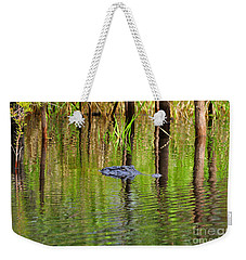 Weekender Tote Bag featuring the photograph Swamp Stalker by Al Powell Photography USA
