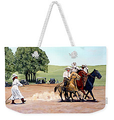 Weekender Tote Bag featuring the painting Suzzi Q. Whirling The Rope by Tom Roderick