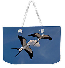 Weekender Tote Bag featuring the photograph Swallow Tail Kites In Flight Under Moon by Justin Kelefas
