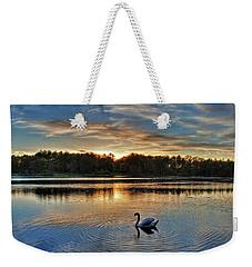 Swan At Sunset Weekender Tote Bag