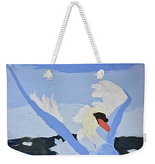 Weekender Tote Bag featuring the painting Swan by Donald J Ryker III