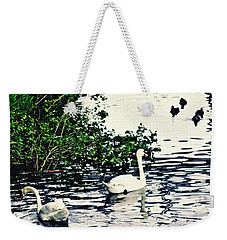 Weekender Tote Bag featuring the photograph Swan Family On The Rhine 2 by Sarah Loft