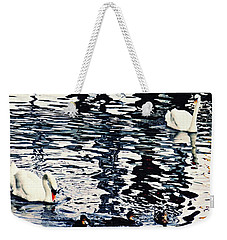 Weekender Tote Bag featuring the photograph Swan Family On The Rhine by Sarah Loft