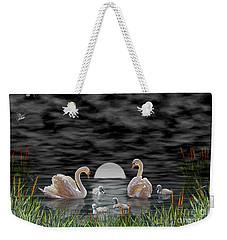 Weekender Tote Bag featuring the digital art Swan Family by Terri Mills
