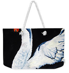 Weekender Tote Bag featuring the painting Swan In Shadows by Lil Taylor