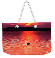 Swan In The Sunset Painting Weekender Tote Bag