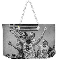 Weekender Tote Bag featuring the photograph Swan In Traffic by Ronald Santini