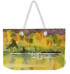 Weekender Tote Bag featuring the painting Swan Lake by Kris Parins