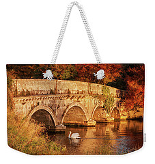 Weekender Tote Bag featuring the photograph Swan On The Rye Water - Kildare, Ireland by Barry O Carroll