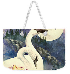 Weekender Tote Bag featuring the painting Swan Song by Sherry Shipley