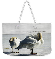 Swans On Ice Weekender Tote Bag