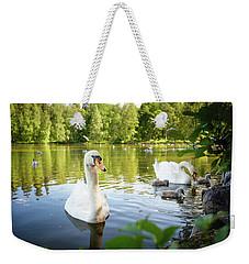 Swans With Chicks Weekender Tote Bag by Teemu Tretjakov