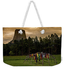 Weekender Tote Bag featuring the photograph Sweat Lodge At Devil's Tower by Gary Lengyel