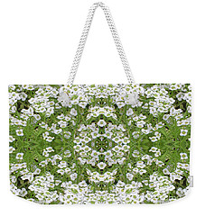 Sweet Alyssum Abstract Weekender Tote Bag by Linda Phelps