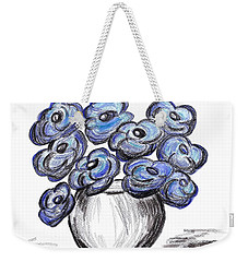 Weekender Tote Bag featuring the painting Sweet Blue Poppies by Ramona Matei