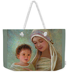 Weekender Tote Bag featuring the painting Sweet Grace Madonna And Child by Nancy Lee Moran