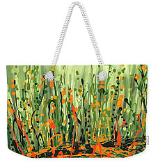 Weekender Tote Bag featuring the painting Sweet Jammin' Peas by Holly Carmichael