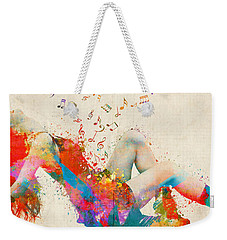 Weekender Tote Bag featuring the digital art Sweet Jenny Bursting With Music Cropped by Nikki Marie Smith