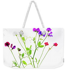 Weekender Tote Bag featuring the photograph Sweet Peas by Rebecca Cozart