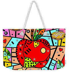 Weekender Tote Bag featuring the digital art Sweet Popart Apple By Nico Bielow by Nico Bielow