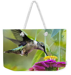 Sweet Success Hummingbird Square Weekender Tote Bag by Christina Rollo