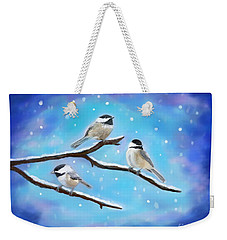 Weekender Tote Bag featuring the painting Sweetest Winter Birdies by Leslie Allen