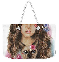 Weekender Tote Bag featuring the mixed media Sweetheart by Sheena Pike