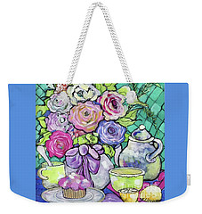 Weekender Tote Bag featuring the painting Sweetness And Tea by Rosemary Aubut