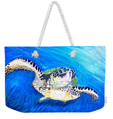 Weekender Tote Bag featuring the painting Swim by Dawn Harrell