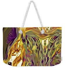Weekender Tote Bag featuring the digital art Swimming Horses by Linda Sannuti
