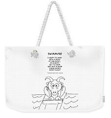 Weekender Tote Bag featuring the drawing Swimming by John Haldane