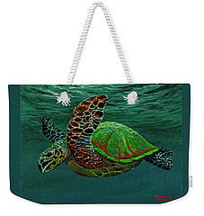 Weekender Tote Bag featuring the painting Swimming With Aloha by Darice Machel McGuire