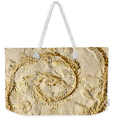 Weekender Tote Bag featuring the photograph Swirl Drawn In The Sand by Francesca Mackenney