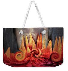 Weekender Tote Bag featuring the digital art Swirling World In Space by Linda Sannuti