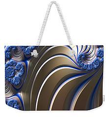 Weekender Tote Bag featuring the digital art Swirly Blue Fractal Art by Bonnie Bruno
