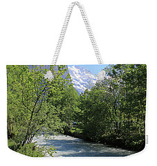 Switzerland Valley With Alps And River In Spring Weekender Tote Bag