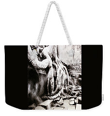 Weekender Tote Bag featuring the painting Sycamore Tree Overgrowing Ruins- Cambodia by Ryan Fox