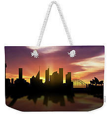 Sydney Skyline Sunset Ausy22 Weekender Tote Bag by Aged Pixel
