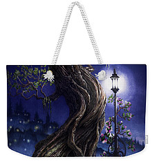 Weekender Tote Bag featuring the painting Sylvia And Her Lamp At Dusk by Curtiss Shaffer
