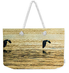 Weekender Tote Bag featuring the photograph Synchronized Bald Eagles At Dawn 1 Of 2 by Jeff at JSJ Photography
