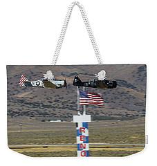 T6 Tango At Reno Air Races Home Pylon Finish Line Weekender Tote Bag