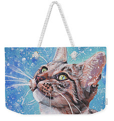 Tabby Cat In The Winter Weekender Tote Bag