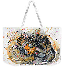 Weekender Tote Bag featuring the painting Tabby Kitten Playing With Yarn Clew  by Zaira Dzhaubaeva