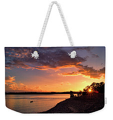 Weekender Tote Bag featuring the photograph Table Rock Sunset by Cricket Hackmann