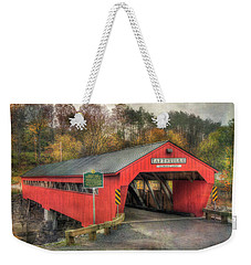 Weekender Tote Bag featuring the photograph Taftsville Covered Bridge Vermont by Joann Vitali