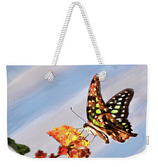 Tail Jay On Scarlet Milkweed Weekender Tote Bag
