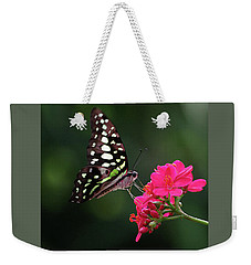 Tailed Jay Butterfly -graphium Agamemnon- On Pink Flower Weekender Tote Bag