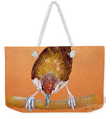 Weekender Tote Bag featuring the pastel Tailor Bird by Jasna Dragun
