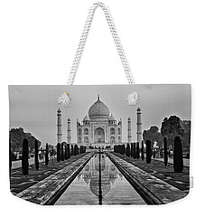 Weekender Tote Bag featuring the photograph Taj Mahal In Black And White by Jacqi Elmslie